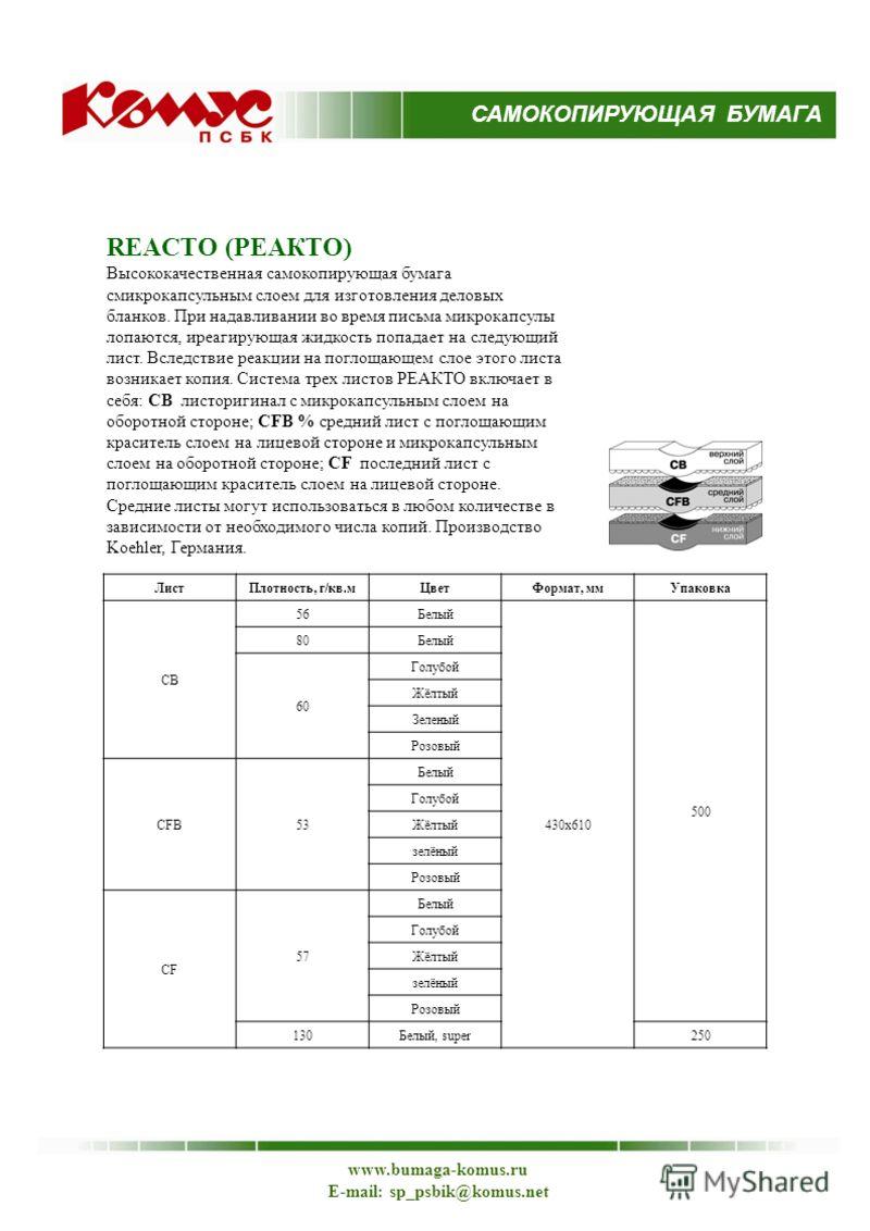 www.bumaga-komus.ru E-mail: sp_psbik@komus.net REACTO (РЕАКТО) Высококачественная самокопирующая бумага смикрокапсульным слоем для изготовления деловых бланков. При надавливании во время письма микрокапсулы лопаются, иреагирующая жидкость попадает на