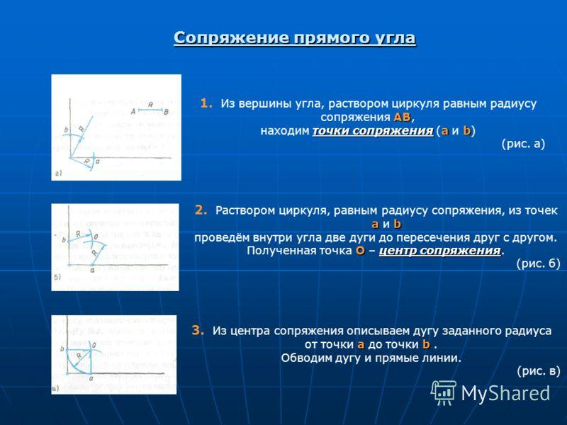 Сопряжение прямого угла АВ 1. Из вершины угла, раствором циркуля равным радиусу сопряжения АВ, точки сопряженияab находим точки сопряжения (a и b) (рис. а) аb 2. Раствором циркуля, равным радиусу сопряжения, из точек а и b проведём внутри угла две ду