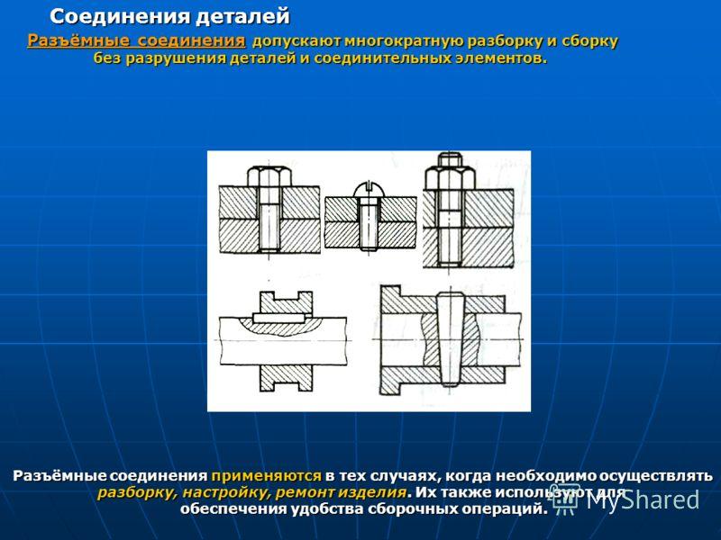Разъёмные соединения допускают многократную разборку и сборку без разрушения деталей и соединительных элементов. Соединения деталей Разъёмные соединения применяются в тех случаях, когда необходимо осуществлять разборку, настройку, ремонт изделия. Их