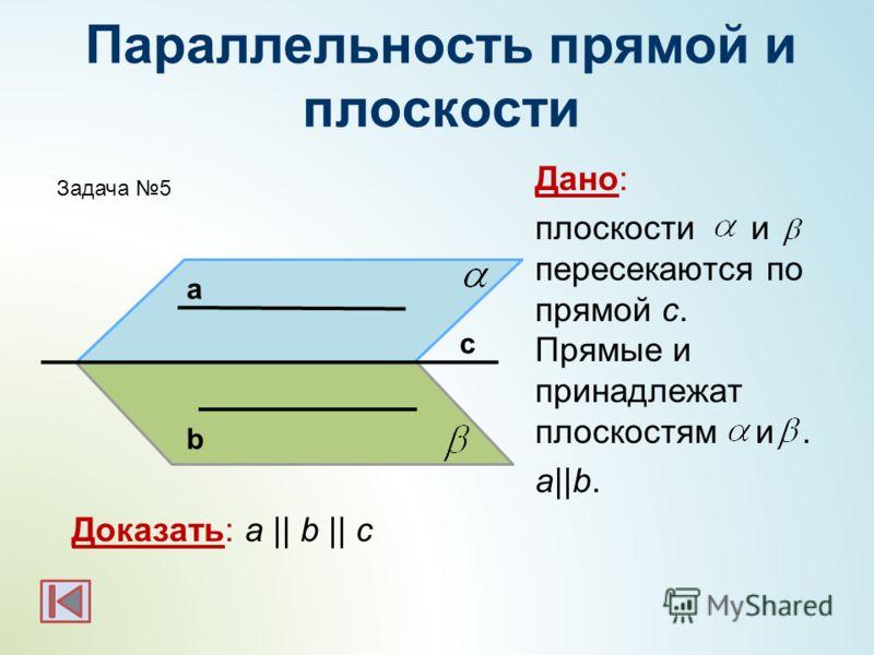 Параллельность прямой и плоскости Дано: плоскости и пересекаются по прямой с. Прямые и принадлежат плоскостям и. a||b. Доказать: a || b || c а b c Задача 5