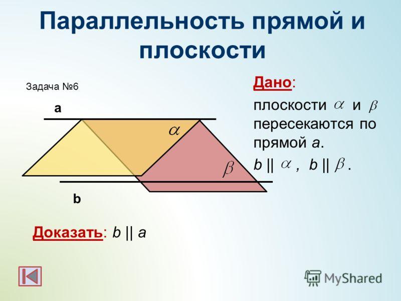 Параллельность прямой и плоскости Дано: плоскости и пересекаются по прямой а. b ||, b ||. Доказать: b || a а b Задача 6