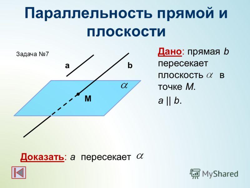 Параллельность прямой и плоскости Дано: прямая b пересекает плоскость в точке M. а || b. Доказать: a пересекает аb M Задача 7