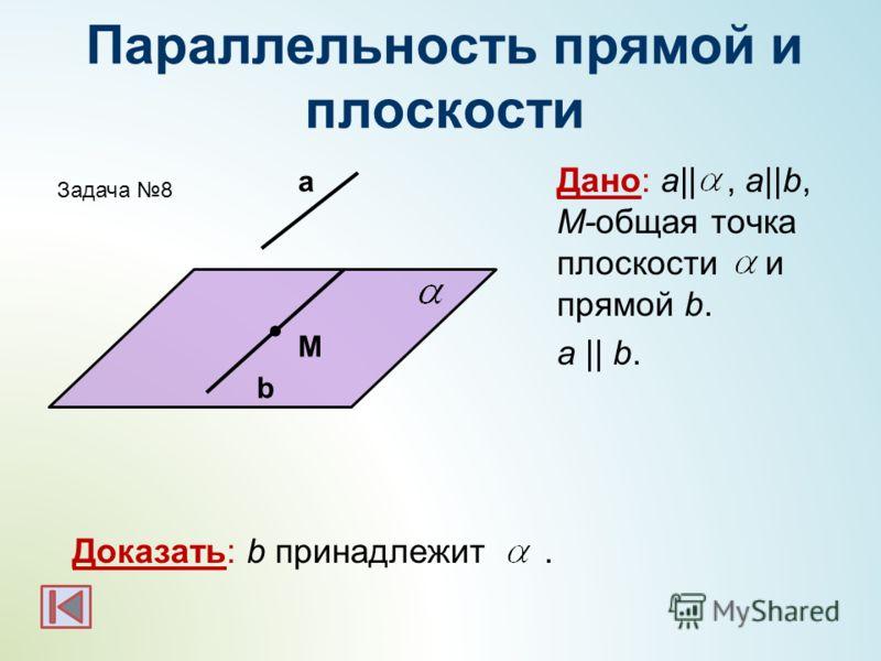 Параллельность прямой и плоскости Дано: а||, a||b, M-общая точка плоскости и прямой b. а || b. Доказать: b принадлежит. а M b Задача 8