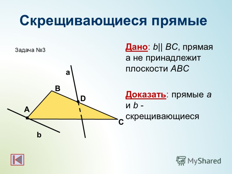 Скрещивающиеся прямые Дано: b|| BC, прямая а не принадлежит плоскости АВС Доказать: прямые a и b - скрещивающиеся b а А С В D Задача 3