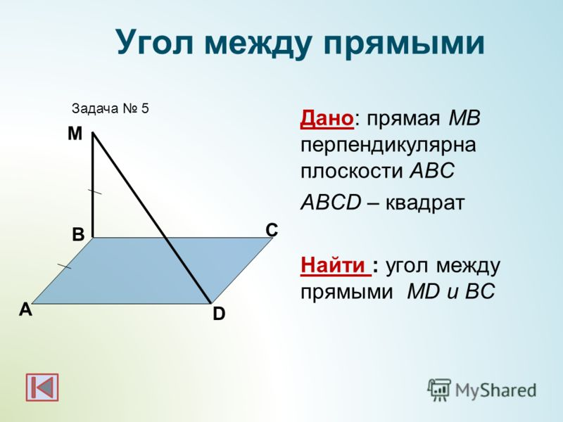 Дано: прямая МВ перпендикулярна плоскости АВС ABCD – квадрат Найти : угол между прямыми МD и BC А B Задача 5 М Угол между прямыми D C