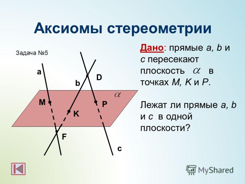 M P K F Дано: прямые a, b и с пересекают плоскость в точках M, K и P. Лежат ли прямые a, b и с в одной плоскости? Задача 5 D c a b
