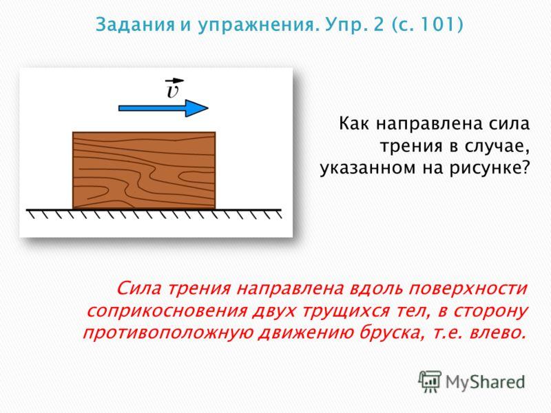 Как направлена сила трения в случае, указанном на рисунке? Сила трения направлена вдоль поверхности соприкосновения двух трущихся тел, в сторону противоположную движению бруска, т.е. влево.