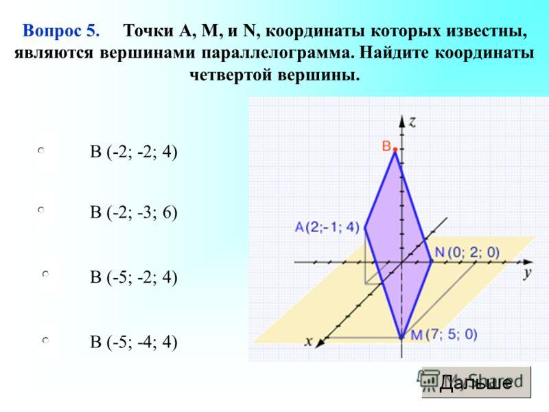 B (-5; -4; 4) B (-2; -3; 6) B (-5; -2; 4) B (-2; -2; 4) Вопрос 5. Точки А, М, и N, координаты которых известны, являются вершинами параллелограмма. Найдите координаты четвертой вершины.