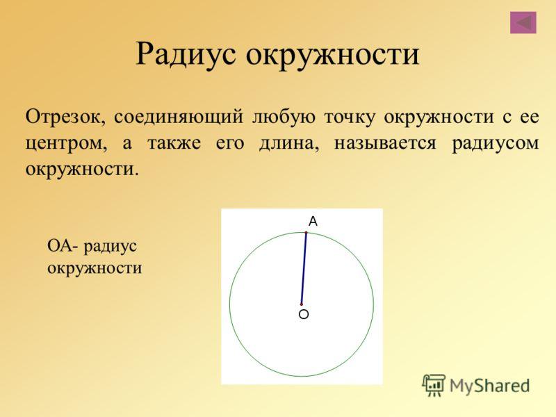 Отрезок, соединяющий любую точку окружности с ее центром, а также его длина, называется радиусом окружности. Радиус окружности ОА- радиус окружности