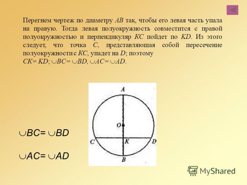 Перегнем чертеж по диаметру АВ так, чтобы его левая часть упала на правую. Тогда левая полуокружность совместится с правой полуокружностью и перпендикуляр КС пойдет по KD. Из этого следует, что точка С, представляющая собой пересечение полуокружности