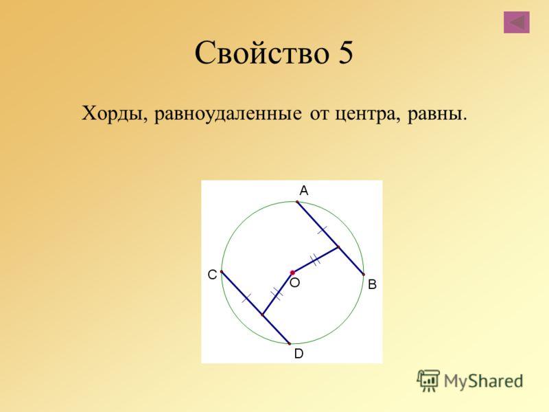 Свойство 5 Хорды, равноудаленные от центра, равны.