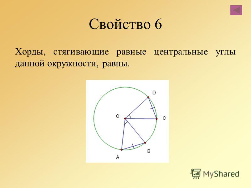 Свойство 6 Хорды, стягивающие равные центральные углы данной окружности, равны.
