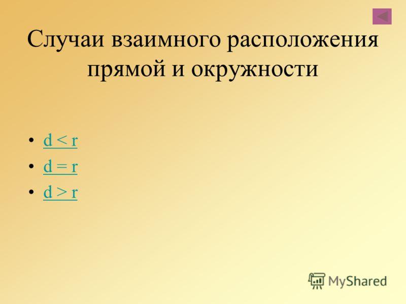 Случаи взаимного расположения прямой и окружности d < rd < r d = rd = r d > rd > r