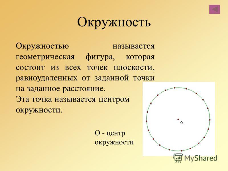 Окружность Окружностью называется геометрическая фигура, которая состоит из всех точек плоскости, равноудаленных от заданной точки на заданное расстояние. Эта точка называется центром окружности. О - центр окружности