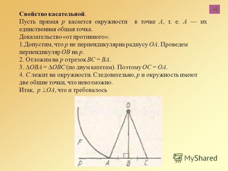 Свойство касательной. Пусть прямая р касается окружности в точке А, т. е. А их единственная общая точка. Доказательство «от противного»: 1.Допустим, что р не перпендикулярна радиусу ОА. Проведем перпендикуляр ОВ на р. 2. Отложим на р отрезок ВС = ВА.