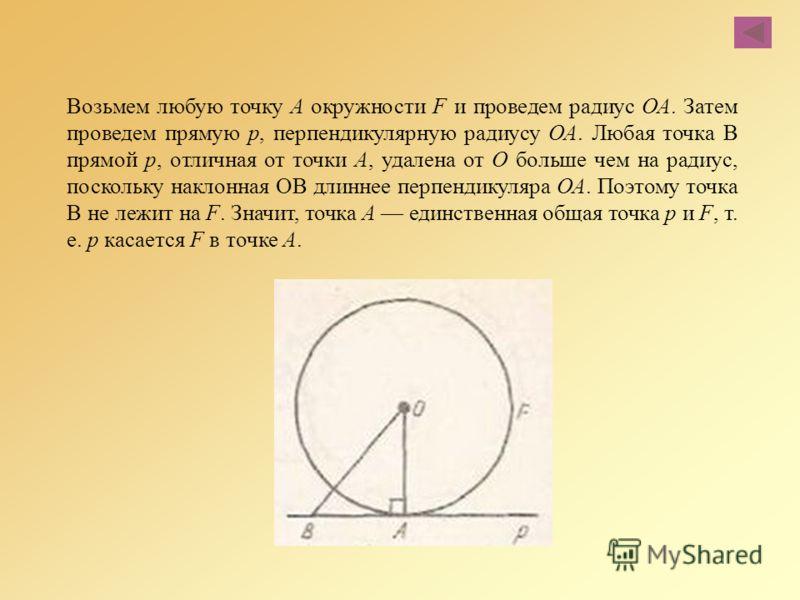 Возьмем любую точку А окружности F и проведем радиус ОА. Затем проведем прямую р, перпендикулярную радиусу ОА. Любая точка В прямой р, отличная от точки А, удалена от О больше чем на радиус, поскольку наклонная ОВ длиннее перпендикуляра ОА. Поэтому т