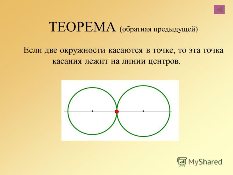 ТЕОРЕМА (обратная предыдущей) Если две окружности касаются в точке, то эта точка касания лежит на линии центров.