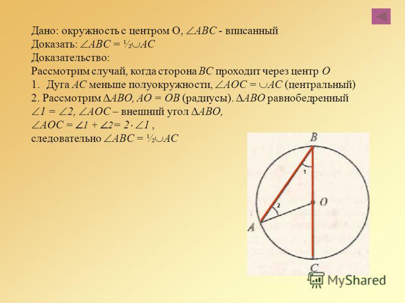 Дано: окружность с центром О, ABC - вписанный Доказать: ABC = ½ АС Доказательство: Рассмотрим случай, когда сторона ВС проходит через центр О 1.Дуга АС меньше полуокружности, AОC = АС (центральный) 2. Рассмотрим ΔАВО, АО = ОВ (радиусы). ΔАВО равнобед