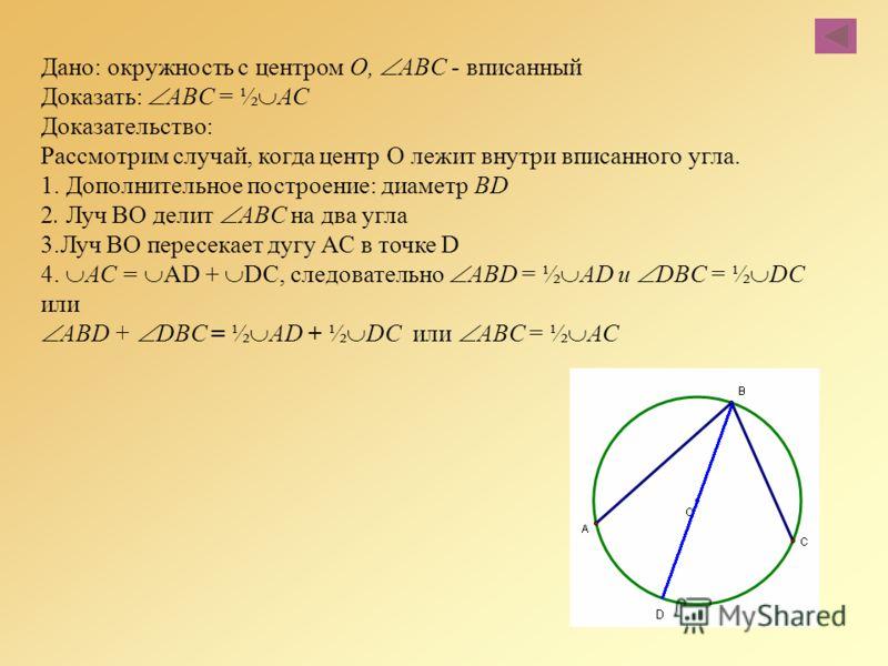 Дано: окружность с центром О, ABC - вписанный Доказать: ABC = ½ АС Доказательство: Рассмотрим случай, когда центр О лежит внутри вписанного угла. 1. Дополнительное построение: диаметр BD 2. Луч ВО делит ABC на два угла 3.Луч ВО пересекает дугу АС в т