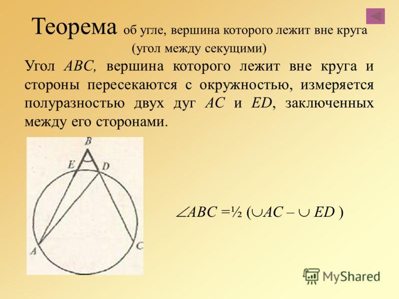 Теорема об угле, вершина которого лежит вне круга (угол между секущими) Угол ABC, вершина которого лежит вне круга и стороны пересекаются с окружностью, измеряется полуразностью двух дуг АС и ED, заключенных между его сторонами. ABC =½ ( АС – ED )
