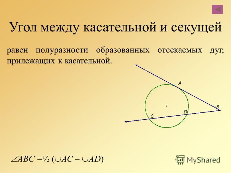 Угол между касательной и секущей равен полуразности образованных отсекаемых дуг, прилежащих к касательной. ABC =½ ( АС – AD)