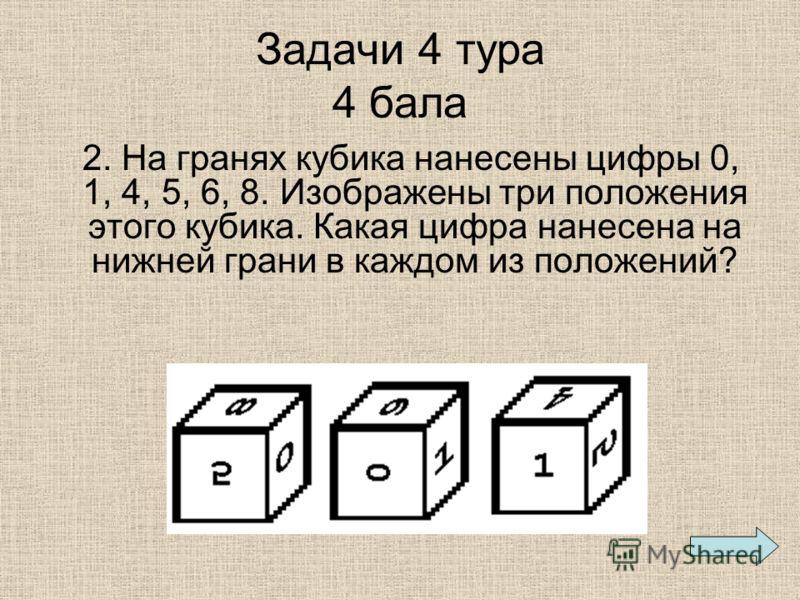 Задачи 4 тура 4 бала 2. На гранях кубика нанесены цифры 0, 1, 4, 5, 6, 8. Изображены три положения этого кубика. Какая цифра нанесена на нижней грани в каждом из положений?