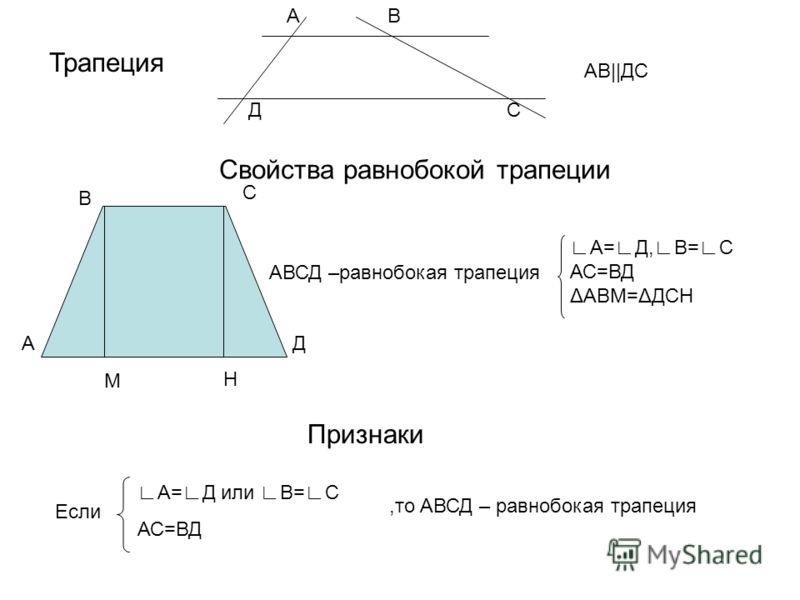 Трапеция АВ СД АВ||ДС Свойства равнобокой трапеции АВСД –равнобокая трапеция А=Д,В=С АС=ВД ΔАВМ=ΔДСН Признаки Если А=Д или В=С АС=ВД,то АВСД – равнобокая трапеция АД М Н В С