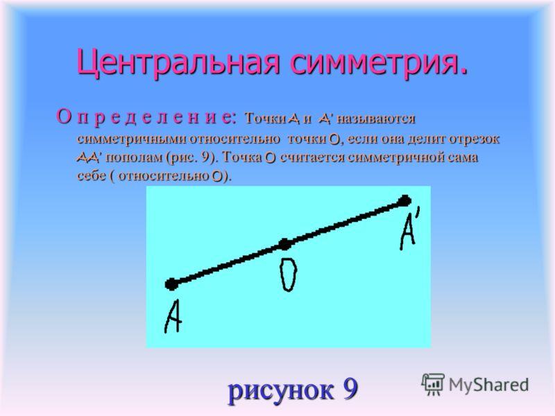Центральная симметрия. Центральная симметрия. О п р е д е л е н и е: Точки A и A называются симметричными относительно точки O, если она делит отрезок AA пополам (рис. 9). Точка O считается симметричной сама себе ( относительно O ). рисунок 9 рисунок