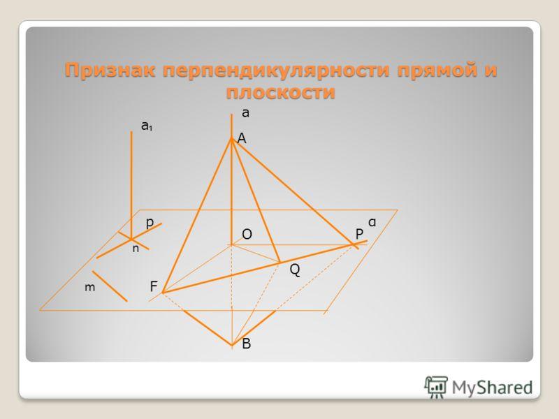 Признак перпендикулярности прямой и плоскости а ОР Q В F А m а р n α