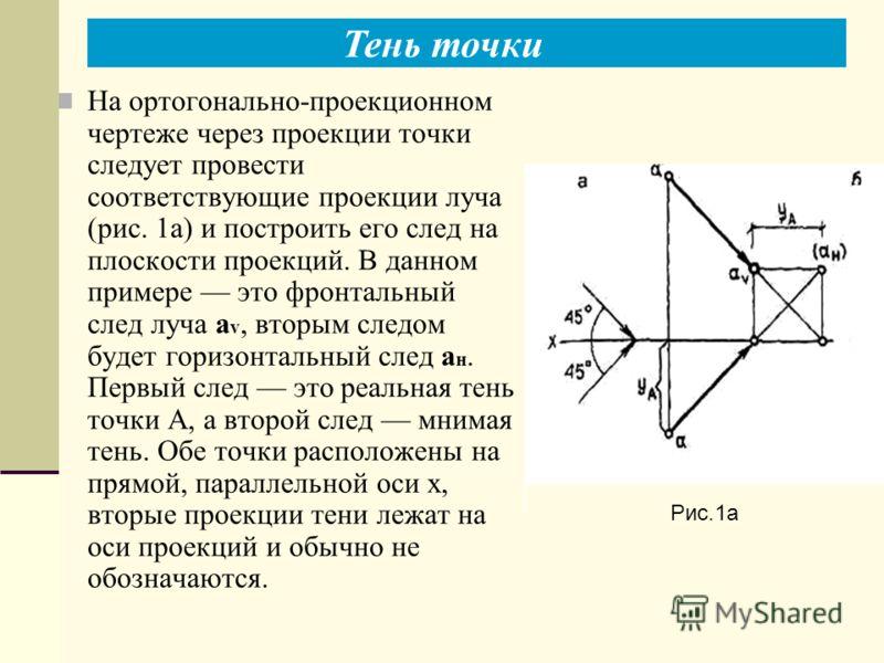 На ортогонально-проекционном чертеже через проекции точки следует провести соответствующие проекции луча (рис. 1а) и построить его след на плоскости проекций. В данном примере это фронтальный след луча a v, вторым следом будет горизонтальный след а н
