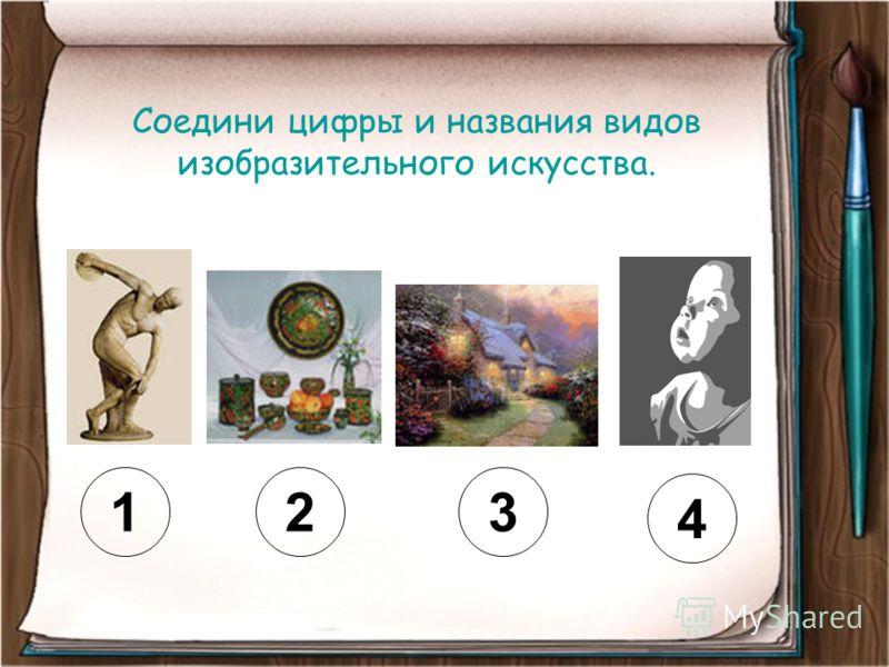 Соедини цифры и названия видов изобразительного искусства. 123 4