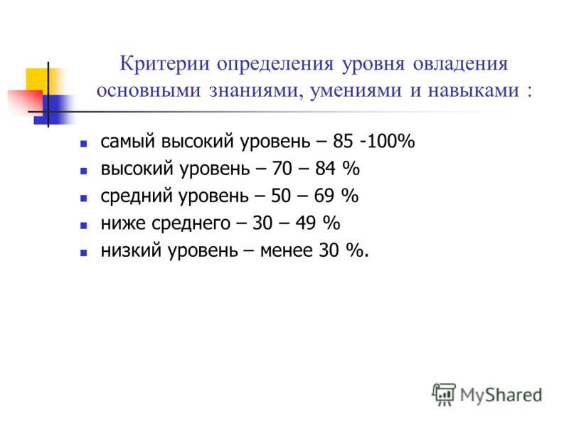 Критерии определения уровня овладения основными знаниями, умениями и навыками : самый высокий уровень – 85 -100% высокий уровень – 70 – 84 % средний уровень – 50 – 69 % ниже среднего – 30 – 49 % низкий уровень – менее 30 %.
