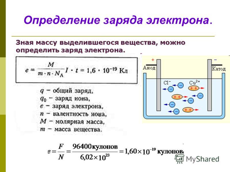 Определение заряда электрона. Зная массу выделившегося вещества, можно определить заряд электрона.