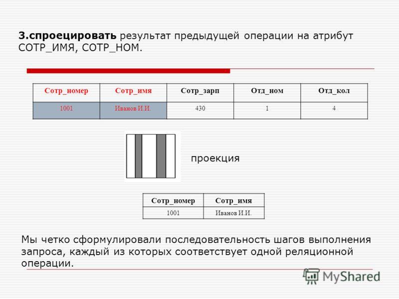 3.спроецировать результат предыдущей операции на атрибут СОТР_ИМЯ, СОТР_НОМ. Сотр_номерСотр_имяСотр_зарпОтд_номОтд_кол 1001Иванов И.И.43014 Сотр_номерСотр_имя 1001Иванов И.И. проекция Мы четко сформулировали последовательность шагов выполнения запрос