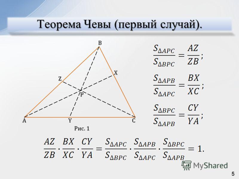 Теорема Чевы (первый случай). BAC Z X Y P Рис. 1 5