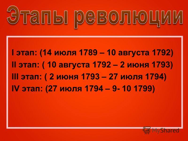 l этап: (14 июля 1789 – 10 августа 1792) ll этап: ( 10 августа 1792 – 2 июня 1793) lll этап: ( 2 июня 1793 – 27 июля 1794) lV этап: (27 июля 1794 – 9- 10 1799)