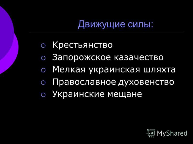 Движущие силы: Крестьянство Запорожское казачество Мелкая украинская шляхта Православное духовенство Украинские мещане