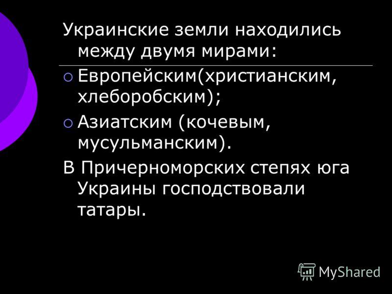 Украинские земли находились между двумя мирами: Европейским(христианским, хлеборобским); Азиатским (кочевым, мусульманским). В Причерноморских степях юга Украины господствовали татары.