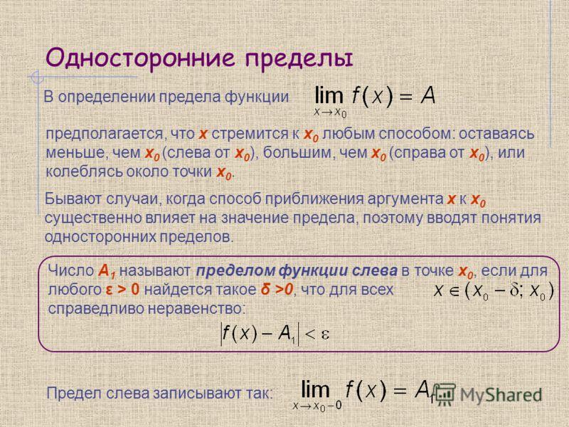 Односторонние пределы В определении предела функции Бывают случаи, когда способ приближения аргумента x к x 0 существенно влияет на значение предела, поэтому вводят понятия односторонних пределов. предполагается, что x стремится к x 0 любым способом: