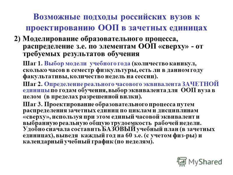 Возможные подходы российских вузов к проектированию ООП в зачетных единицах 2) Моделирование образовательного процесса, распределение з.е. по элементам ООП «сверху» - от требуемых результатов обучения Шаг 1. Выбор модели учебного года (количество кан