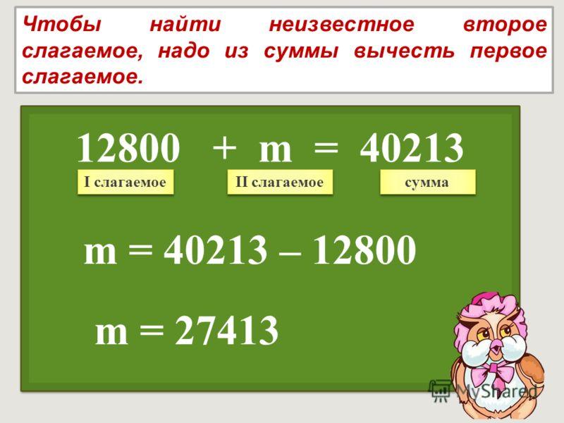 m = 27413 12800 + m = 40213 Чтобы найти неизвестное второе слагаемое, надо из суммы вычесть первое слагаемое. I слагаемое II слагаемое сумма m = 40213 – 12800