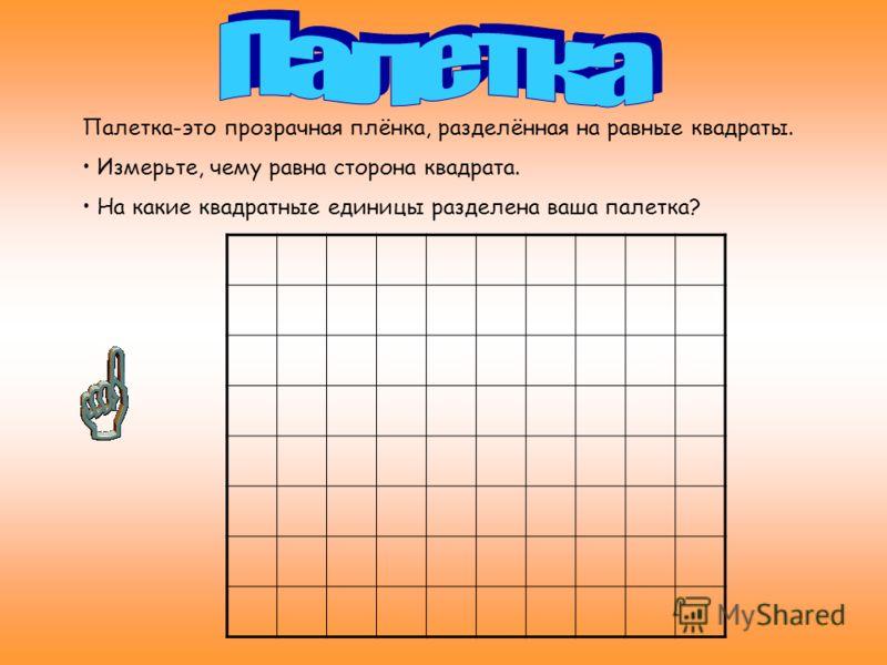 Палетка-это прозрачная плёнка, разделённая на равные квадраты. Измерьте, чему равна сторона квадрата. На какие квадратные единицы разделена ваша палетка?