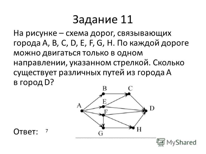 Задание 11 На рисунке – схема дорог, связывающих города А, B, C, D, E, F, G, H. По каждой дороге можно двигаться только в одном направлении, указанном стрелкой. Сколько существует различных путей из города А в город D? Ответ: 7