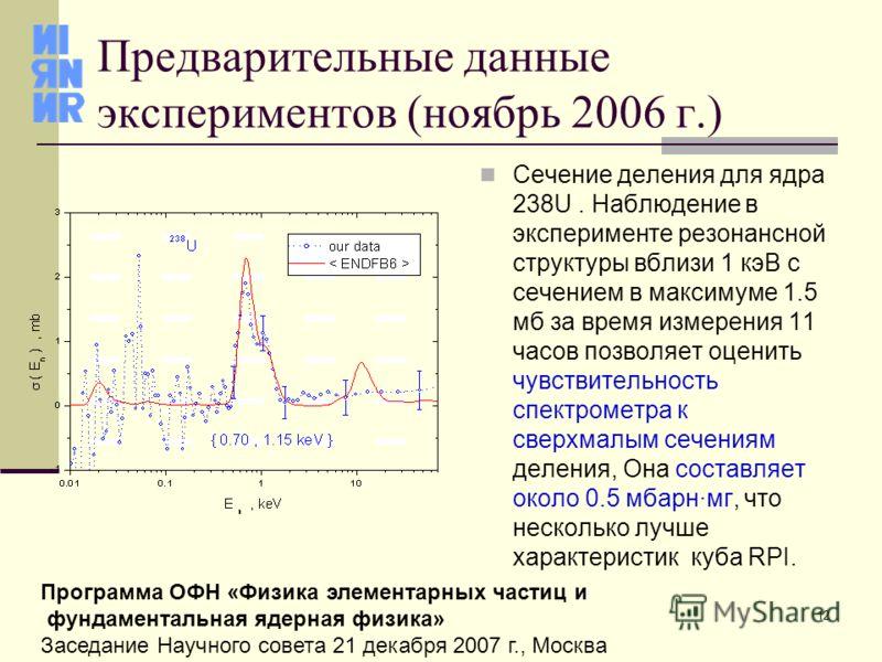 12 Программа ОФН «Физика элементарных частиц и фундаментальная ядерная физика» Заседание Научного совета 21 декабря 2007 г., Москва Предварительные данные экспериментов (ноябрь 2006 г.) Сечение деления для ядра 238U. Наблюдение в эксперименте резонан