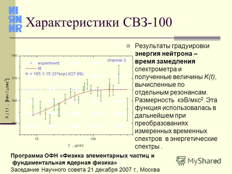 24 Программа ОФН «Физика элементарных частиц и фундаментальная ядерная физика» Заседание Научного совета 21 декабря 2007 г., Москва Характеристики СВЗ-100 Результаты градуировки энергия нейтрона – время замедления спектрометра и полученные величины K