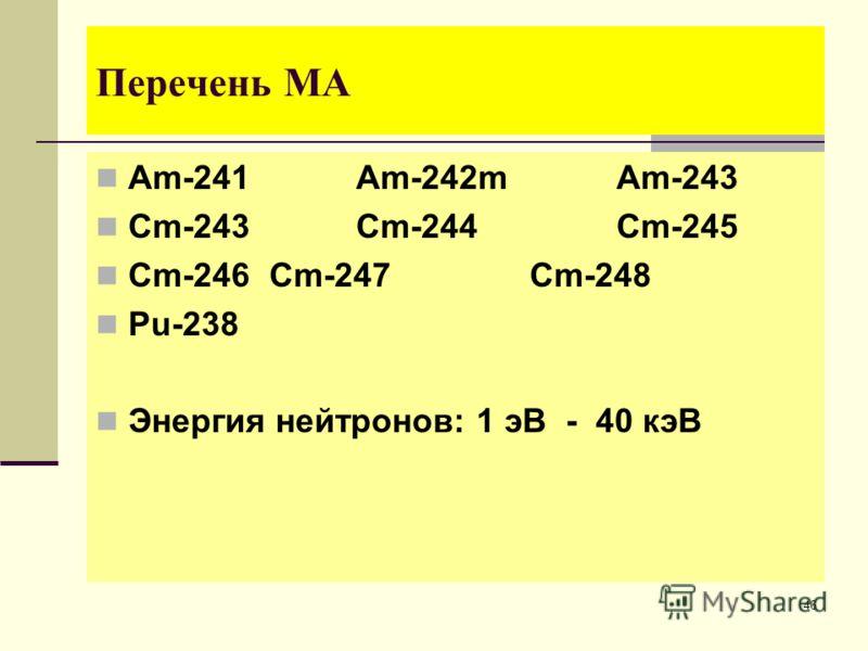 46 Перечень МА Am-241 Am-242m Am-243 Cm-243 Cm-244 Cm-245 Cm-246 Cm-247 Cm-248 Pu-238 Энергия нейтронов: 1 эВ - 40 кэВ