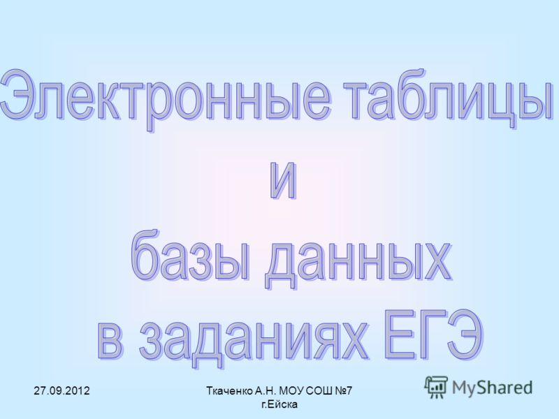 27.09.2012Ткаченко А.Н. МОУ СОШ 7 г.Ейска