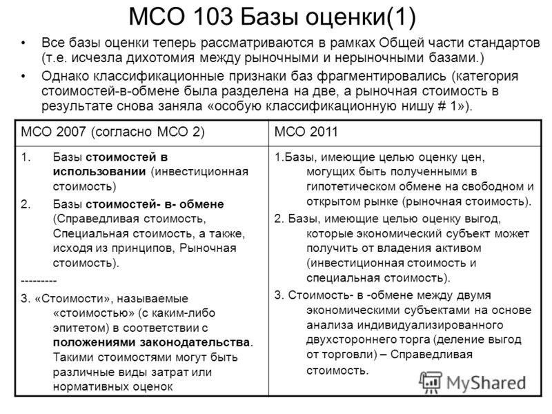 МСО 103 Базы оценки(1) Все базы оценки теперь рассматриваются в рамках Общей части стандартов (т.е. исчезла дихотомия между рыночными и нерыночными базами.) Однако классификационные признаки баз фрагментировались (категория стоимостей-в-обмене была р