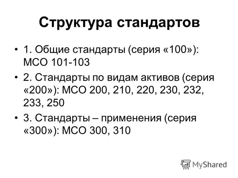 Структура стандартов 1. Общие стандарты (серия «100»): МСО 101-103 2. Стандарты по видам активов (серия «200»): МСО 200, 210, 220, 230, 232, 233, 250 3. Стандарты – применения (серия «300»): МСО 300, 310