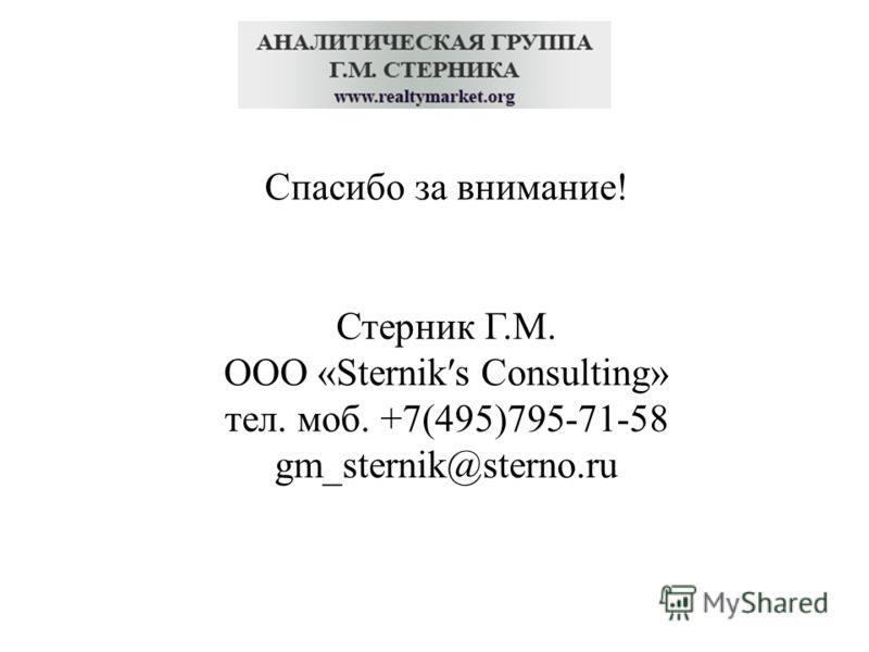Спасибо за внимание! Стерник Г.М. ООО «Sterniks Consulting» тел. моб. +7(495)795-71-58 gm_sternik@sterno.ru